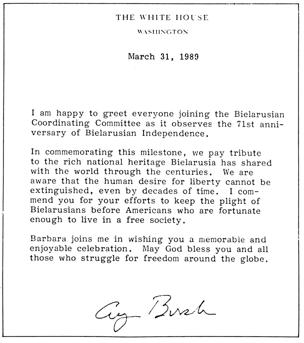 Belarus us relations greeting on the anniversary of the belarusian democratic republic from president george hw bush 1989 m4hsunfo Images