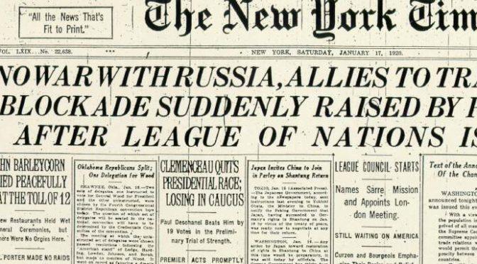 New York Times пра барацьбу за незалежнасьць Беларусі ў 1920 г.